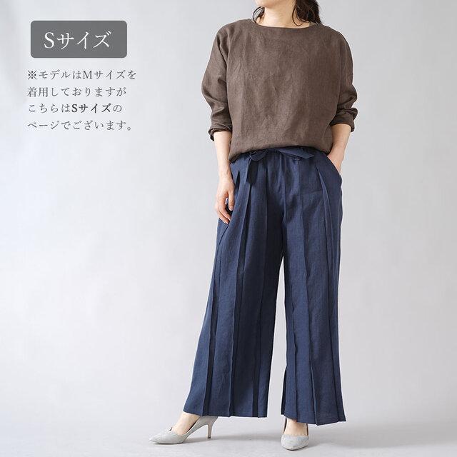 【Sサイズ】【wafu】男女兼用 リネン100% プリーツパンツ ベルト付 やや薄地/とめこん b005g-tmk1の画像1枚目