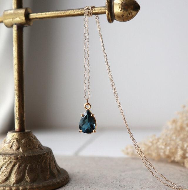 【K10】大粒!宝石質ロンドンブルートパーズの一粒ネックレス(ペアシェイプファセットカット)*11月誕生石の画像1枚目