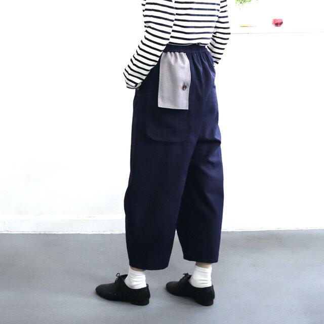 flag flap pants (navy)の画像1枚目