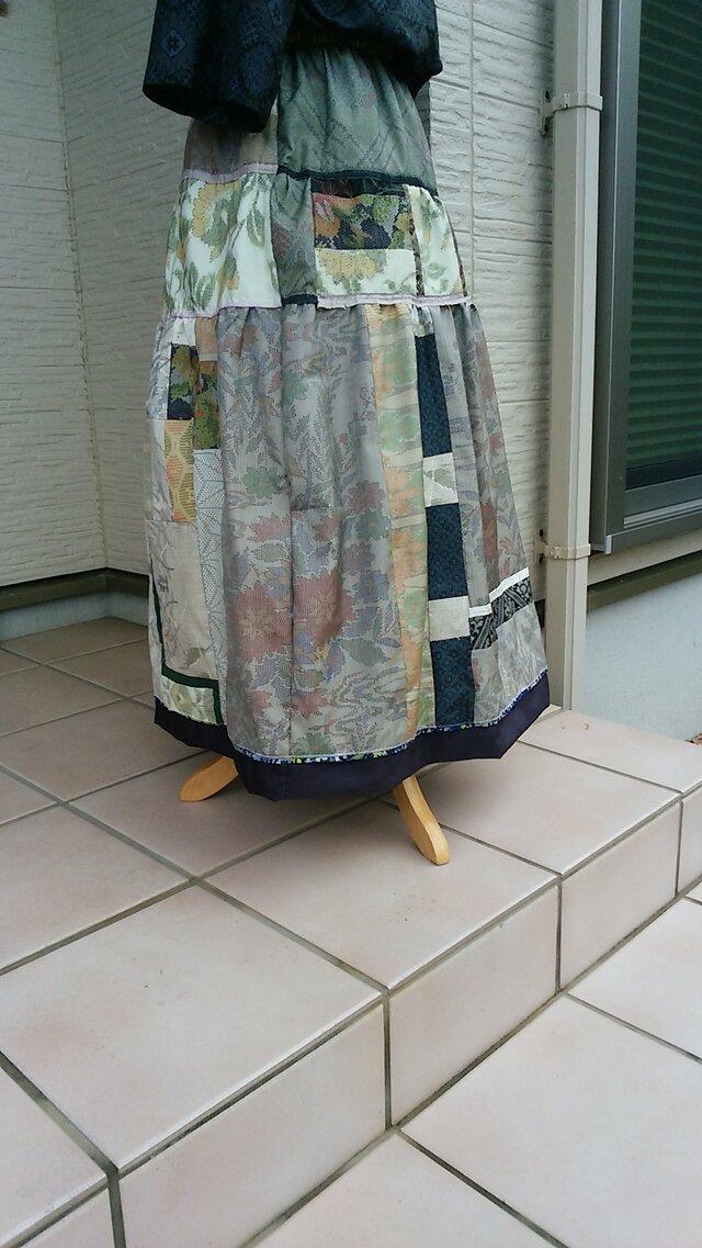 着物リメイク 夏の装い エレガントスカート  裏付き 一点品の画像1枚目