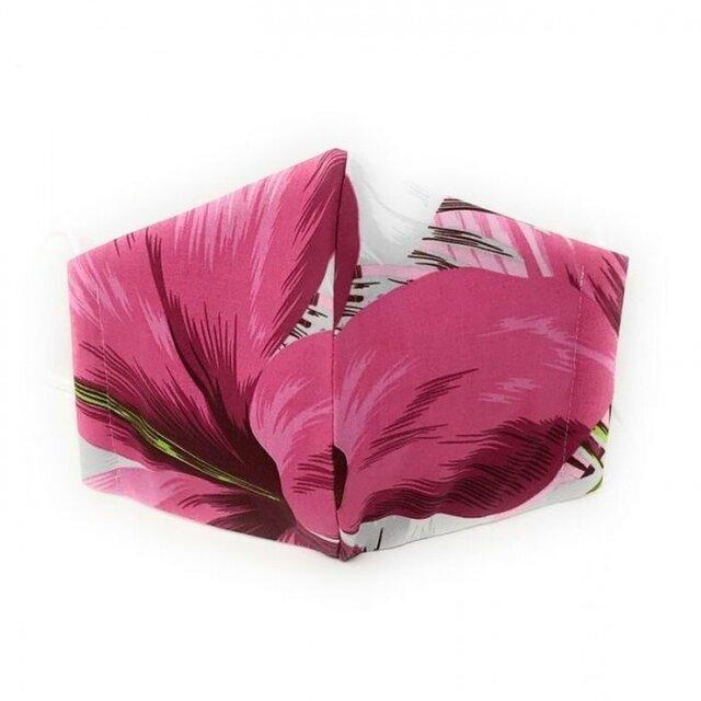 ハワイアン ファブリック ファッション・3Dマスク(扇型) ハイビスカス柄 ピンク・グレー Lサイズの画像1枚目