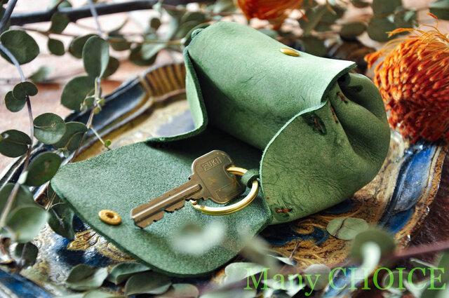 イタリアンバケッタレザー・アラスカ・アコーディオンコインキーケースミニ(グリーン)の画像1枚目
