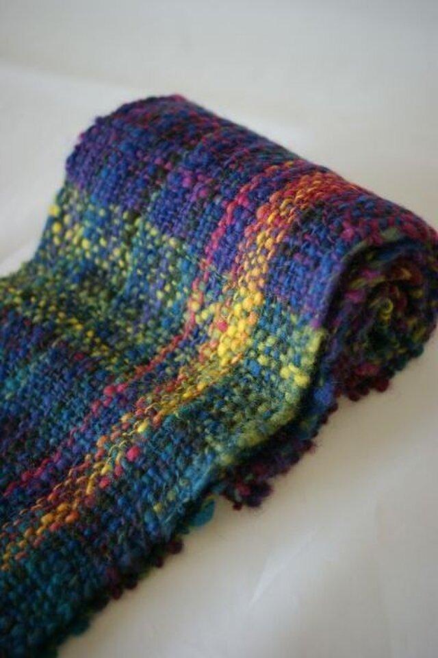 手紡ぎのマフラー(紫グラデーション)の画像1枚目