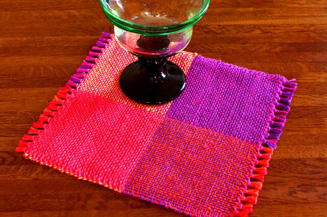 手織り カラーリネンのリバーシブルミニマット(№4)の画像1枚目