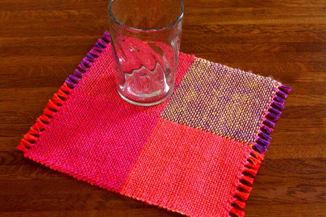 手織り カラーリネンのリバーシブルミニマット(№5)の画像1枚目