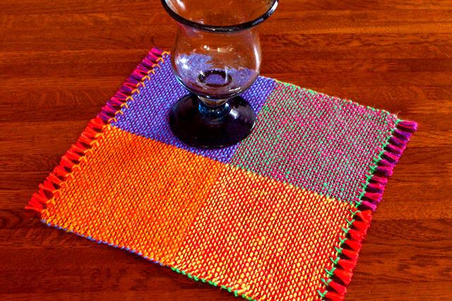 手織り カラーリネンのリバーシブルミニマット(№6)の画像1枚目