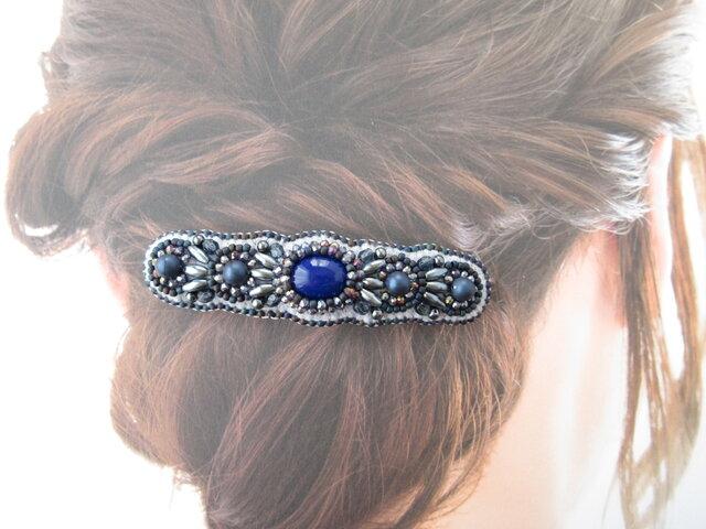 Hair accessory バレッタ ビーズ刺繍 (K1032)の画像1枚目