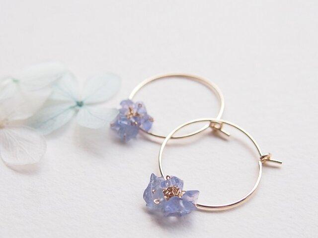 小さな紫陽花(フープピアス/フープイヤリング)の画像1枚目