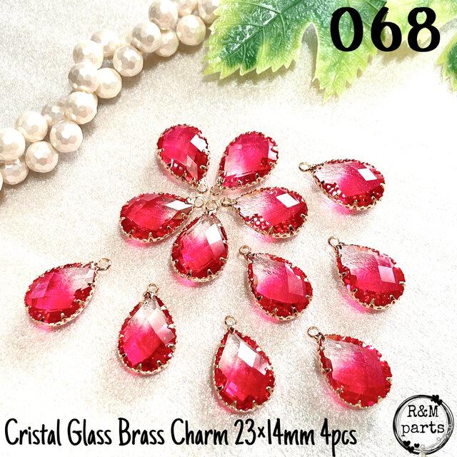 【068】 クリスタルガラス ドロップ 真鍮 チャーム ホットピンク 4個の画像1枚目
