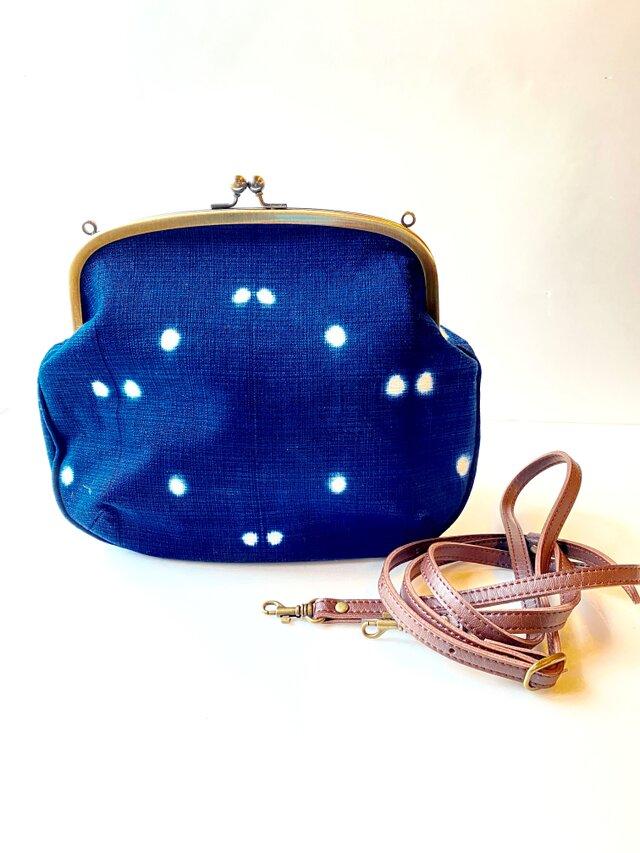 藍染めがま口ショルダーバッグの画像1枚目