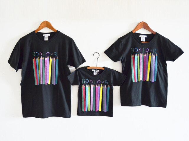 親子3人お揃い色えんぴつTシャツセット 親子おそろいコーデ  ブラックの画像1枚目