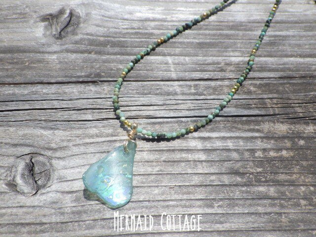 3WAY☆ローマングラス ターコイズネックレス*Ancient Romanglass Necklaceの画像1枚目