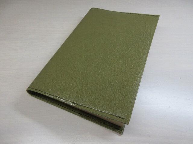 ハヤカワ文庫トールサイズ対応・ゴートスキン・ダークオリーブ・一枚革のブックカバー・0557の画像1枚目