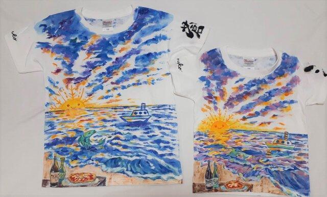 てのひら食堂★ お揃いの夜明け Tシャツ 手描き の画像1枚目
