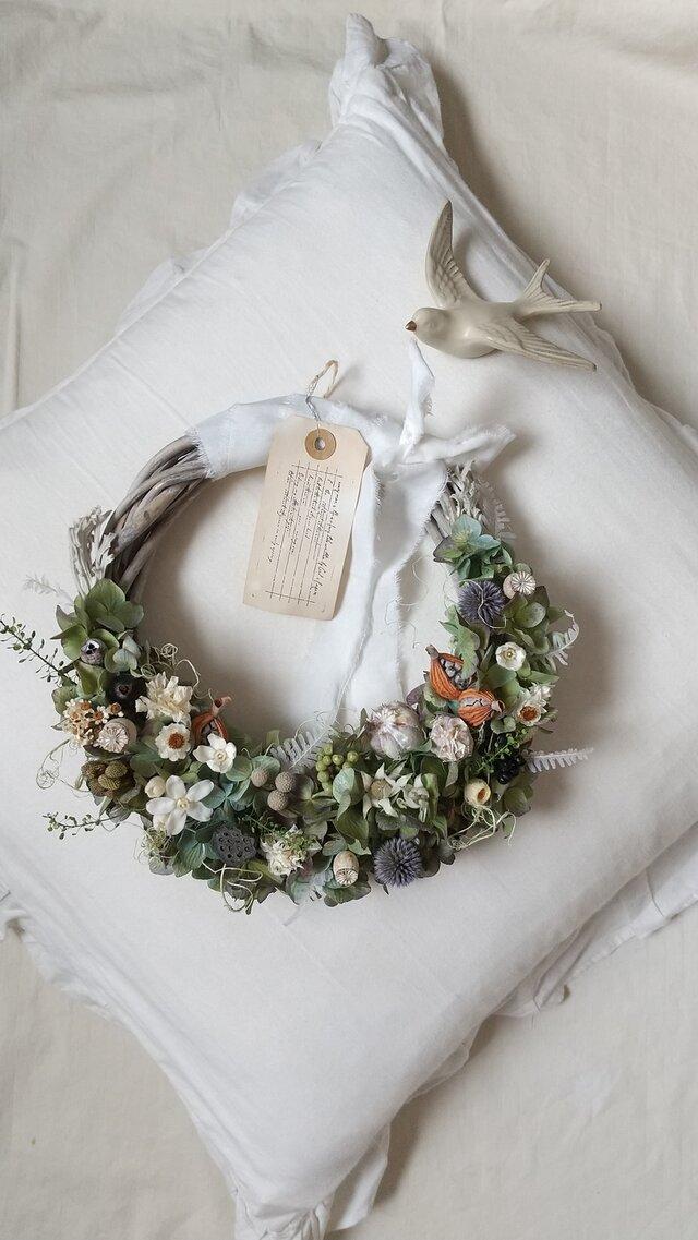 ドライアジサイとアザミのgarden wreath (プリザーブドフラワードライフラワーグリーン アンティーク ギフト)の画像1枚目