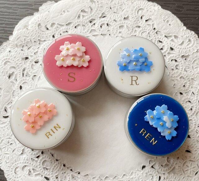 選べる4種類☆名前入り!桜ブーケのアルミ缶ピルケース(中)の画像1枚目
