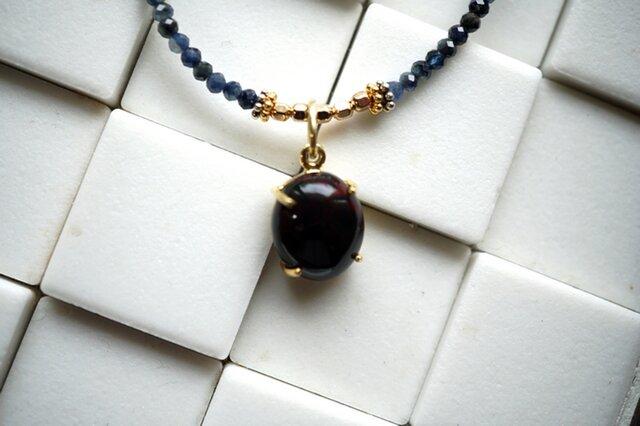 【お好きな長さで】ブラックオパール×サファイアの美しすぎるネックレスの画像1枚目