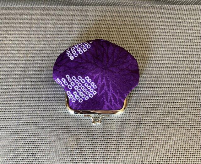 がまぐち・角型 ちびがま口  白×紫 絞り柄・2の画像1枚目