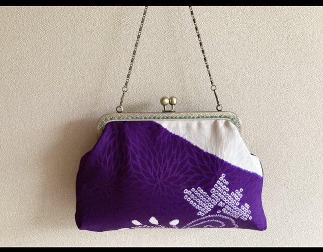 がまぐちバッグ・白×紫 絞り柄の画像1枚目