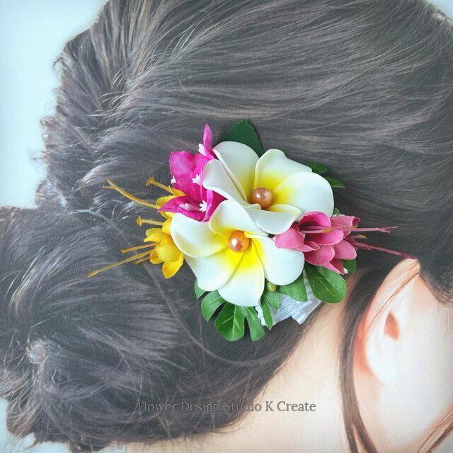 プリーツリボンとプルメリアのヘアクリップ:D 髪飾り トロピカルフラワー 南国 フラ フラダンス の画像1枚目