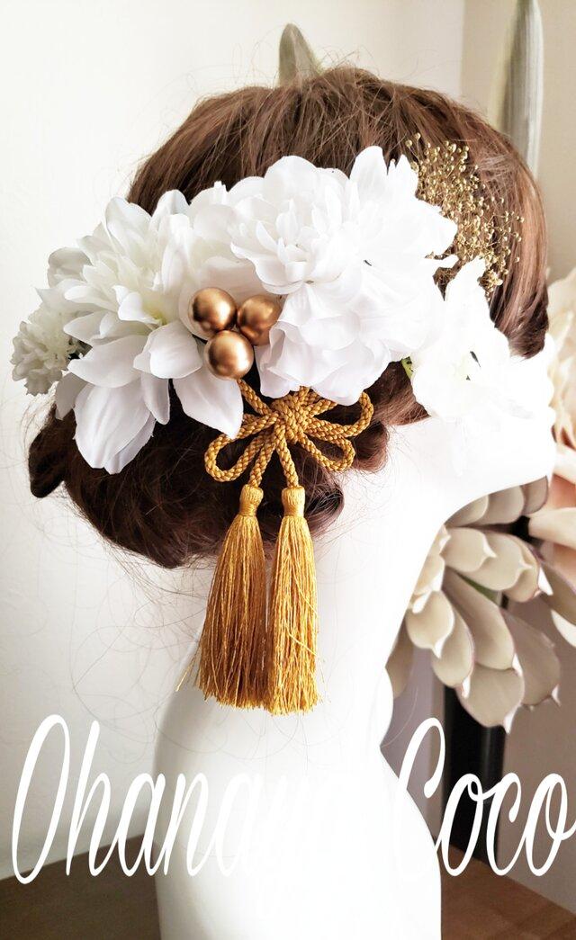 white系ダリアのヘッドドレス8点Set No802の画像1枚目