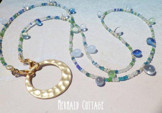 5way! Mediterranean Blue 地中海ブルーランヤード/眼鏡・マスクホルダー☆マットゴールドの画像1枚目