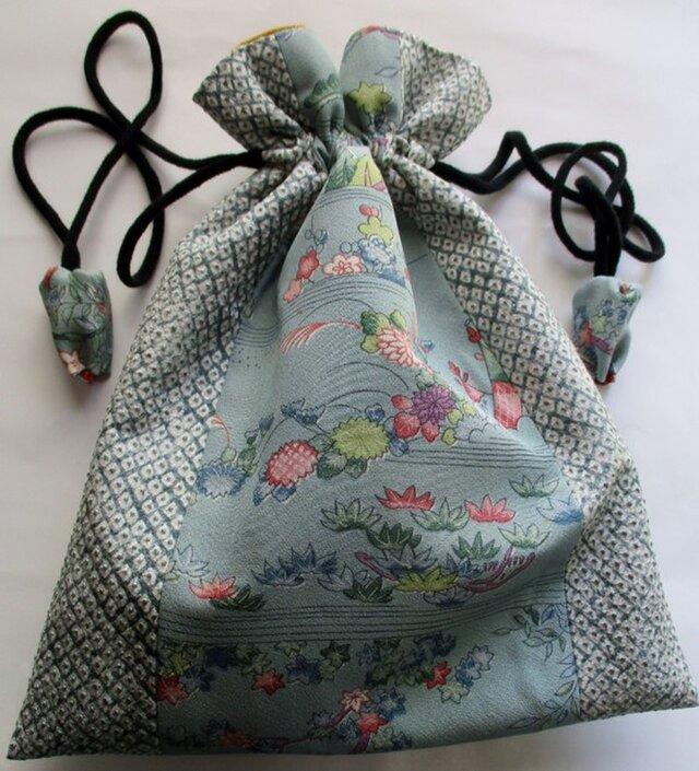 5661 花柄の着物で作った巾着袋 #送料無料の画像1枚目