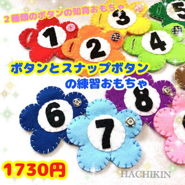 【送料込】スナップボタンとボタンの練習☆色と数字の練習の画像1枚目