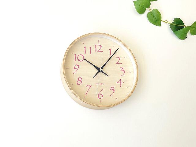 plywood clock 21 ライトピンク km-120LPRC 電波時計 シナ文字盤 連続秒針の画像1枚目