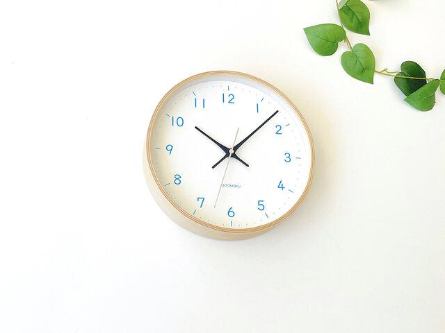 plywood clock 22 ライトブルー km-121LBRC 電波時計 連続秒針の画像1枚目