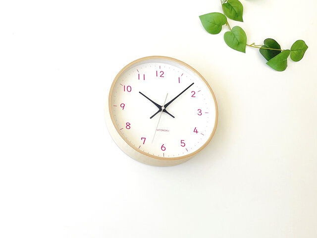 plywood clock 22 ライトピンク km-121LPRC 電波時計 連続秒針の画像1枚目