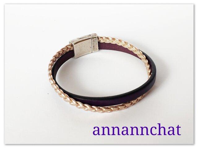 【ヨーロッパ製本革  濃紫・三つ編み ローズゴールド 二連ブレスレット】マグネットの画像1枚目
