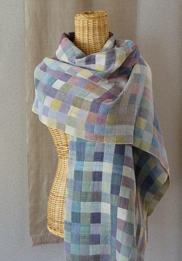 手織りコットンストール・・雨上がりの画像1枚目