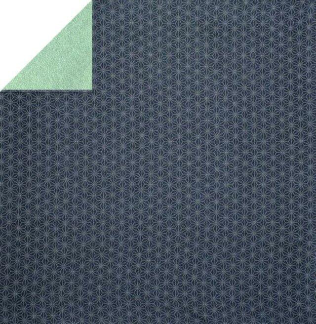 風呂敷 両面染ふろしき 麻型 / 鮫小紋 ポリエステル100%  黒 / グリーン 68cmx68cmの画像1枚目
