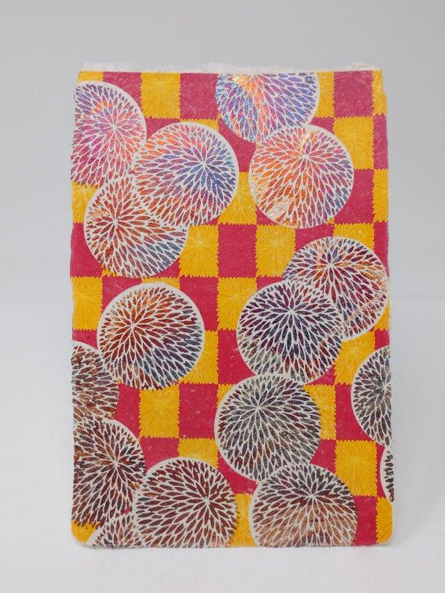 ギルディング和紙葉書 丸菊 赤混合箔の画像1枚目