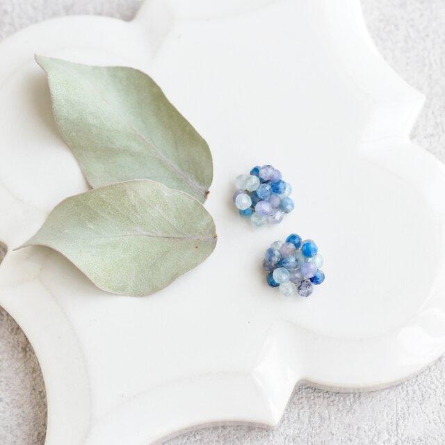 紫陽花 ブルー/ピアスの画像1枚目