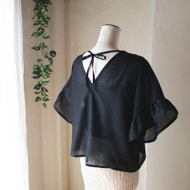 透け感綺麗な♥コットンボイルのバックリボンブラウス フリル袖 ゆったり身幅の画像1枚目