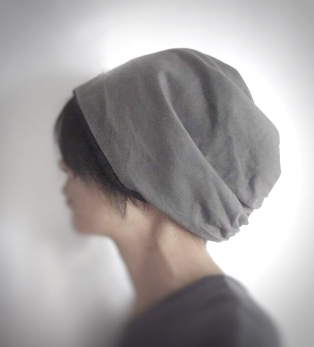 ターバンな帽子 グレー+黒 送料無料の画像1枚目