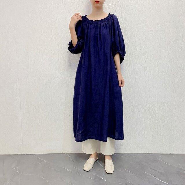en-enリネン・ウエストマークベルト付きワンピース・紺紫の画像1枚目