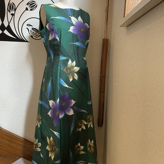 気分を明るく!浴衣地ワンピースドレス グリーン花柄の画像1枚目