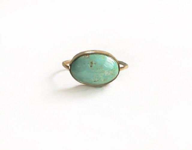 一点もの k18 Persian Turquoise Egg リング No.4/ 受注制作の画像1枚目