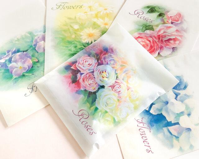 お買い得♪訳ありワックスペーパー平袋5枚セット:花の画像1枚目