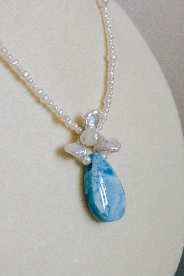 ラリマー&淡水真珠ネックレスの画像1枚目