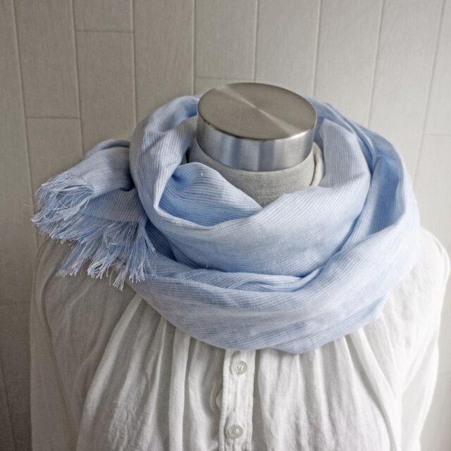 上質ベルギーリネンのストール 水色×白 ストライプの画像1枚目