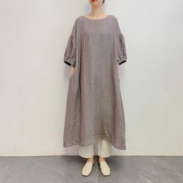 en-enリネン・ふんわりゴム袖ワンピース・薄めグレーの画像1枚目