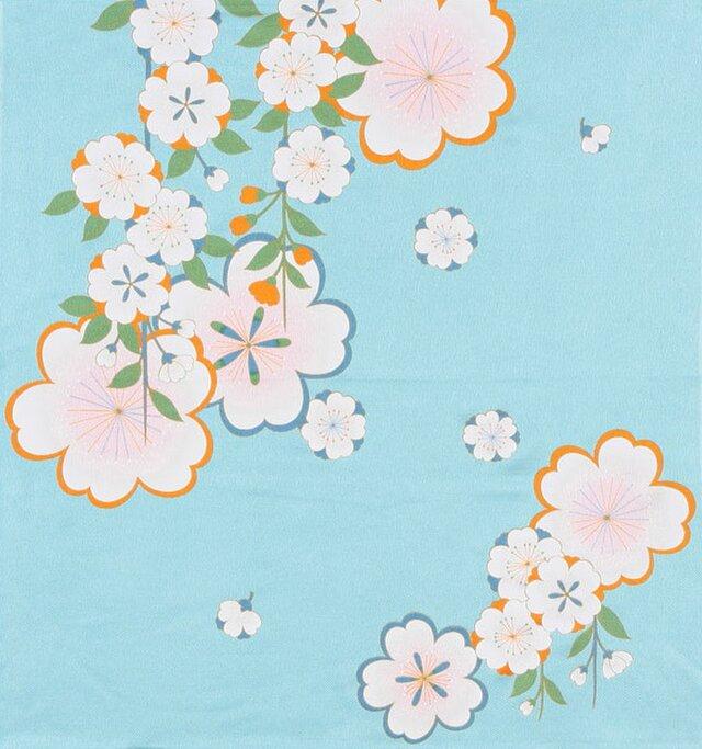 風呂敷 ちりめん風呂敷 みやこ桜 レーヨン100% 68cm×68cm ブルーの画像1枚目