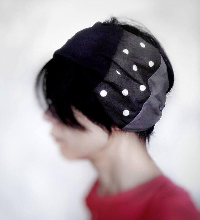 ターバンなヘアバンド グレイッシュドット 送料無料の画像1枚目