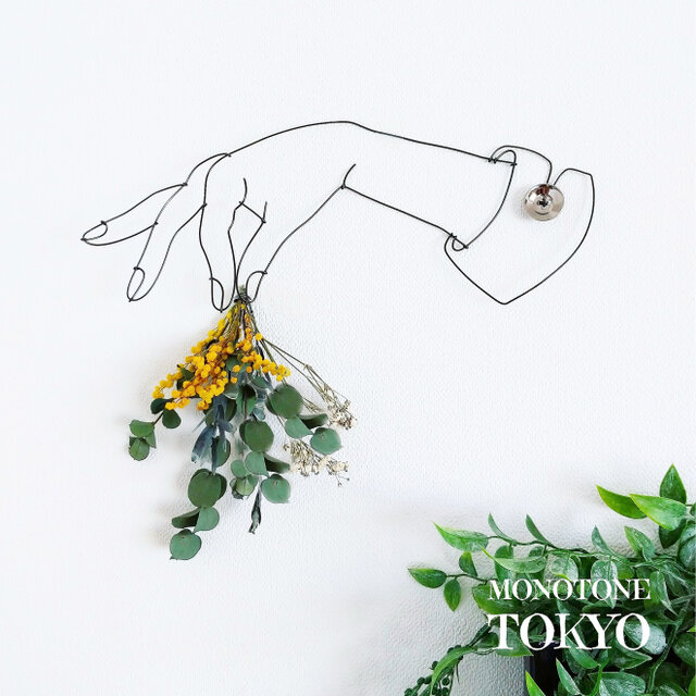 Wire Wall Art Bouque Spring(春ミモザ&ユーカリ)の画像1枚目