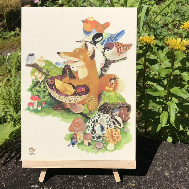 「葉っぱのてがみ」 24x18cm パネルの画像1枚目