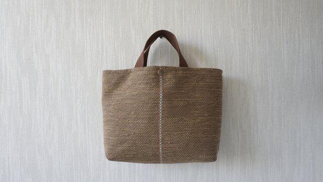 裂き織りのバッグM  ミルクキャラメルの画像1枚目